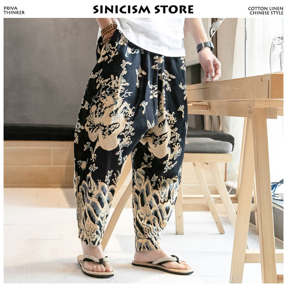 Sinicism Store Men Dragon Joggers Pants 2020 Mens Streetwear Harem Pants Male Chinese Fashions Track Pants Sweatpants Plus Size