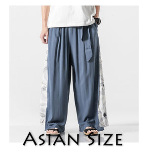 MrGoldenBowl Store 2020 Summer Chinese Style Cotton Pants Mens Patchwork Vintage Loose Pants Male Wide Leg Pants