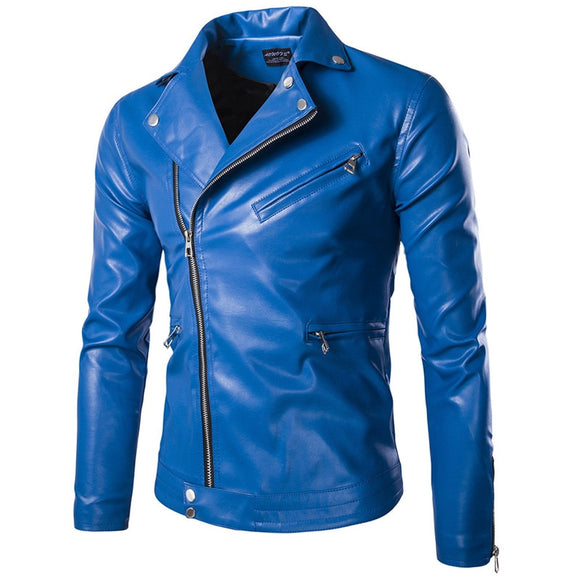High quality men's fashion lapel locomotive leather, large size solid color slim leather jacket, trend youth men's cycling jacke