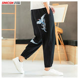 Sinicism Store Men Embroidery Harem Pants Mens 2020 Oversized 5XL Vintage Loose Trousers Male Chinese Style Pants Bottoms Summer