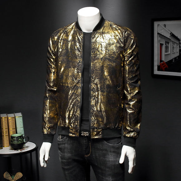 Retro Black Gold Print Party Jacket Club Clothes Masculina Slim Fit Bomber Print Jacket 2020 Autumn Men Jacquard Casual Jackets