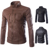 High Quality Men Leather Jacket 2019 Autumn Stand Collar Multi-Zipper Men's motorcycle clothing Boutique Men PU Leather Jacket