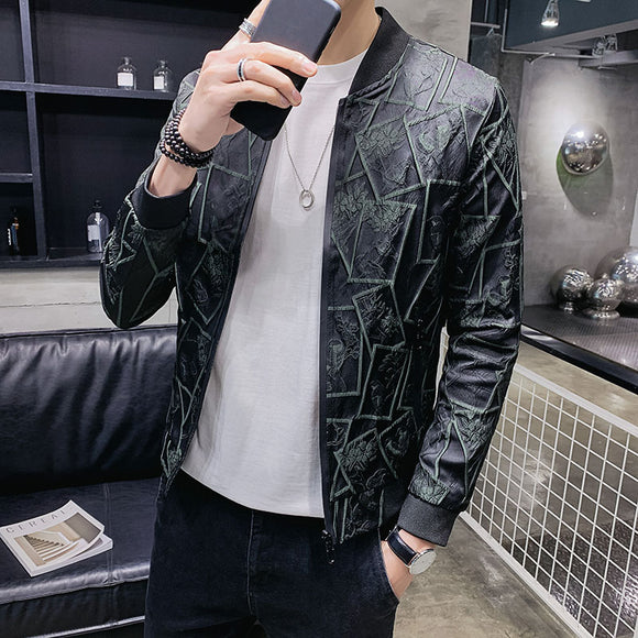 Vintage Floral Print Jackets Streetwear Men Autumn Slim Fit Jacquard Jacket Coats Men Bomber Jacket Vintage Casual Club Outfit