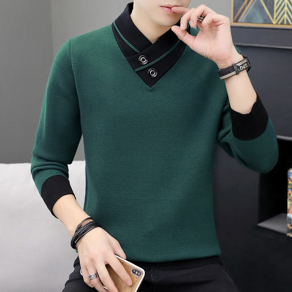 Men  Autumn V-Neck Pullover Sweater Men's Slim Fit Knitted Pullovers Men's Clothing Knitted Sweaters Pullover Homme