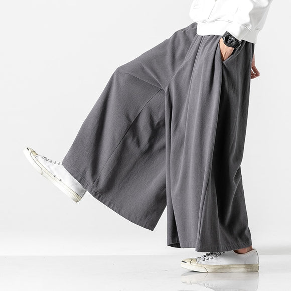 MrGoldenBowl Store Autumn Causal Baggy Pants 2020 Chinese Style Draped Cotton Pants Mens Loose Traditional Wide Leg Pants Male