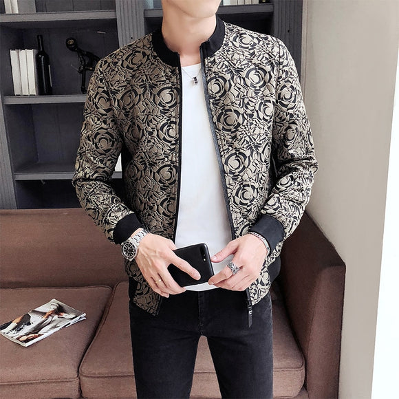 Jacquard Jacket Jaqueta Masculina 2020 Spring Men Zipper Bomber Jacket Streetwear Men's Casual Vintage Jacket Slim Fit Coat