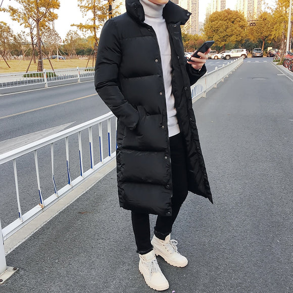Mens Winter Casual Long Down Jackets Coat Man High Quality Casual Fashion Pike Jacket Plus Size 4XL Men Thick Windbreaker Jacket