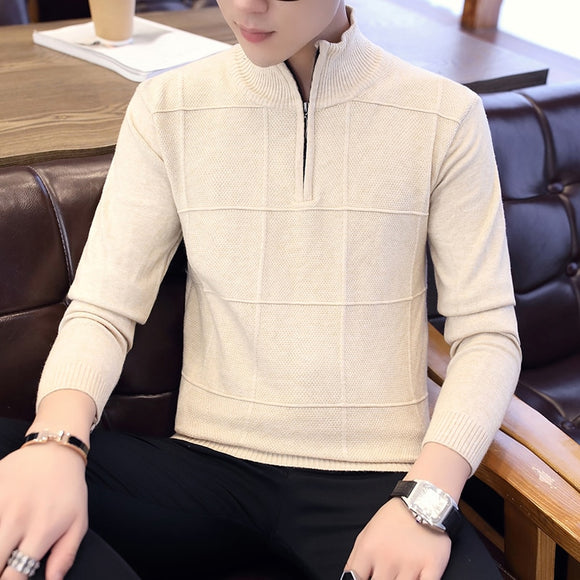 Turtleneck Mens Sweaters Pullovers Winter Stand Collar Zipper Slim Fit Thick Warm Casual Knitting Warm Knitwear Pullover
