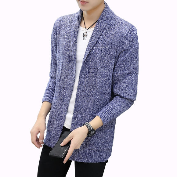 2019 New Men's Autumn Cardigan Sweaters Male Casual Knitted Sweater Coat Solid Color Long Sleeve Slim Fit Cardigans Outerwear