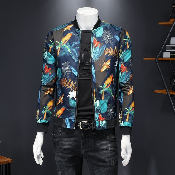 2020 Fall New Men's Floral Printed Jacket Vintage Classic Fashion Designer Bomber Jackets Men Party Club Outfit Ropa Hombre 5xl