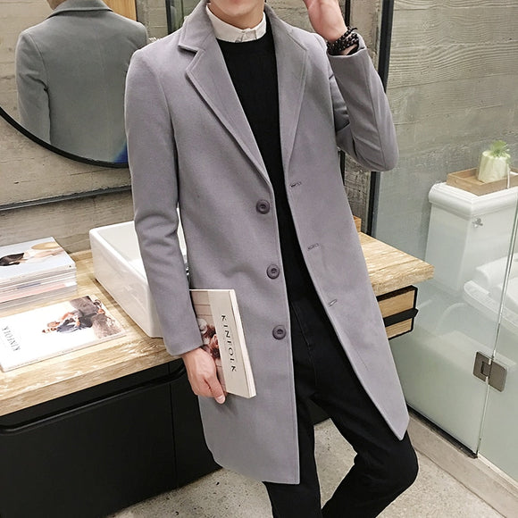(10 colors) 2019 new men's long woolen coat, large size 5XL casual solid color jacket, slim fashion men's windbreaker jacket