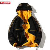 FGKKS Brand Men's Jackets Plush Fabric Men Warm Jacket Fashion High Street Thick Wear Both Sides Winter Jackets Male