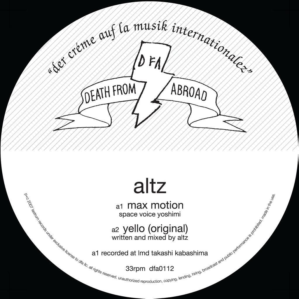 Death From Abroad: Altz - Max Motion (w/ Idjut Boys Remixes) 12""