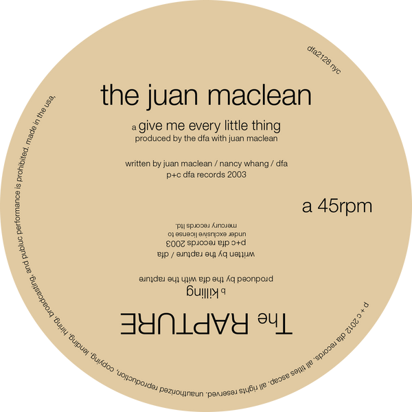 The Rapture / Juan Maclean Split 12""