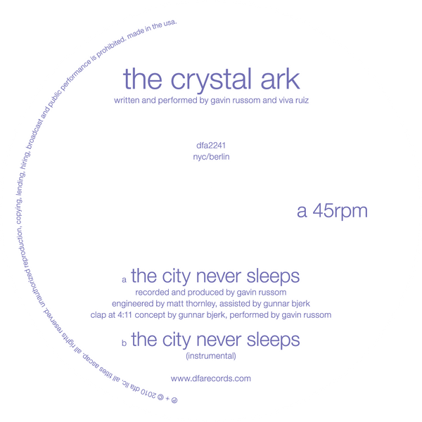 The Crystal Ark - The City Never Sleeps 12""