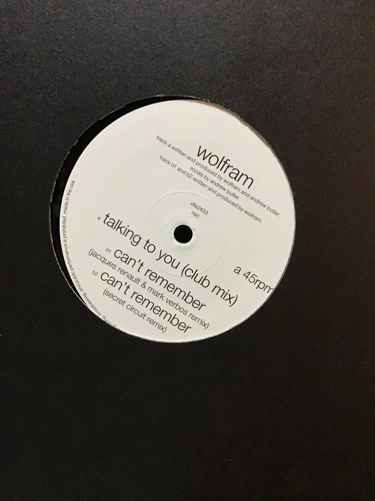 "Wolfram - Talking To You / Can't Remember 12"" w/ Secret Circuit Remix"