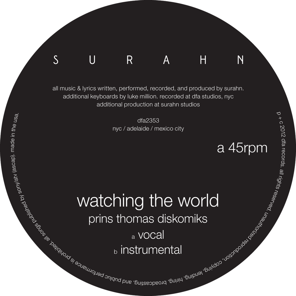 Surahn - Watching The World (Prins Thomas Remix) 12""