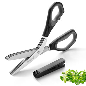 TANSUNG Herb Scissors with 5 Stainless Steel Blades - T4 - Black