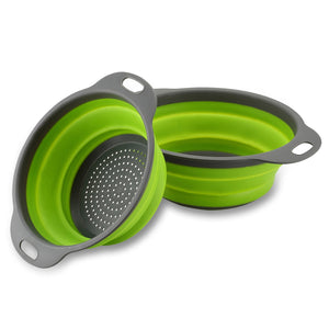 TANSUNG 2 Pack Collapsible Colanders - TS002 -Green