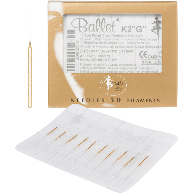Ballet Gold Plated Needles K2 50pk