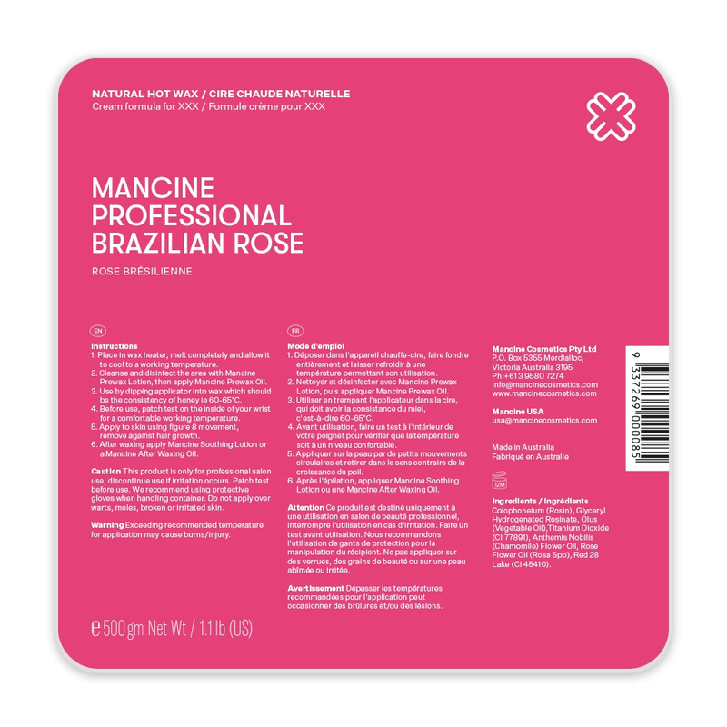 Mancine XXX BRAZILIAN ROSE XXX (PINK) HOT WAX 500gm