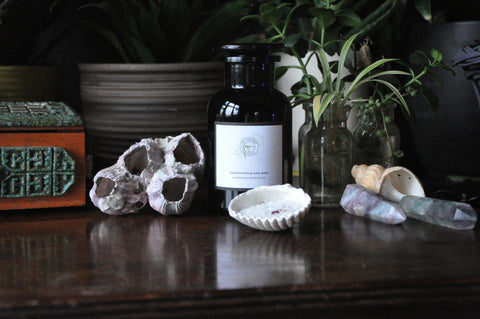 beautiful products from the modern witch apothecary in violet glass  lined up on a dark wood table with plants and crystals with magnesium organic bath salts in frankincense and rose