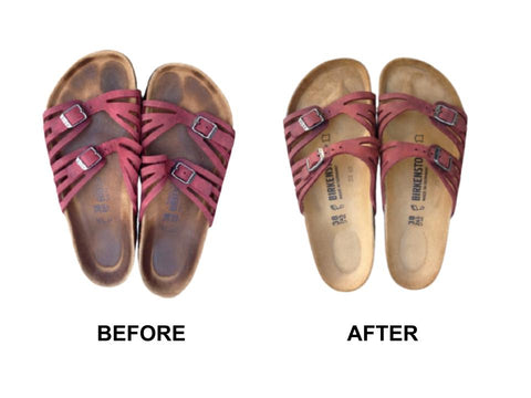 Before and after Birkenstock repair