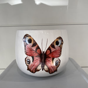 White Dolomite Pot with Butterfly