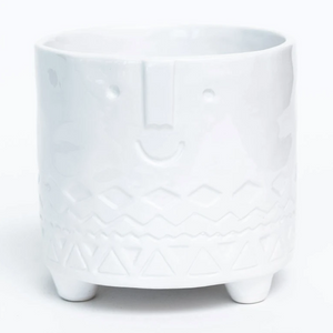 "4.9""x 4.3"" Footed White Glazed Friendly Faces Dolomite Pot"