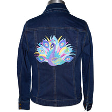 Load image into Gallery viewer, Peacock Machine Embroidered Blue Denim Jacket MED