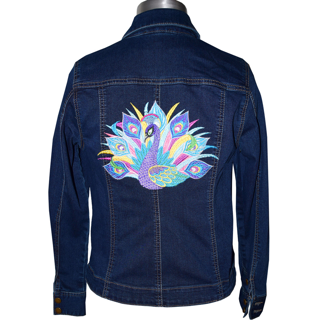 Peacock Machine Embroidered Blue Denim Jacket MED