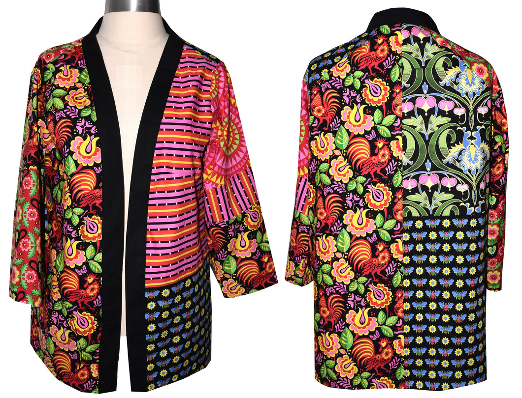 Bright Color Patchwork Cotton Print Kimono Style Jacket