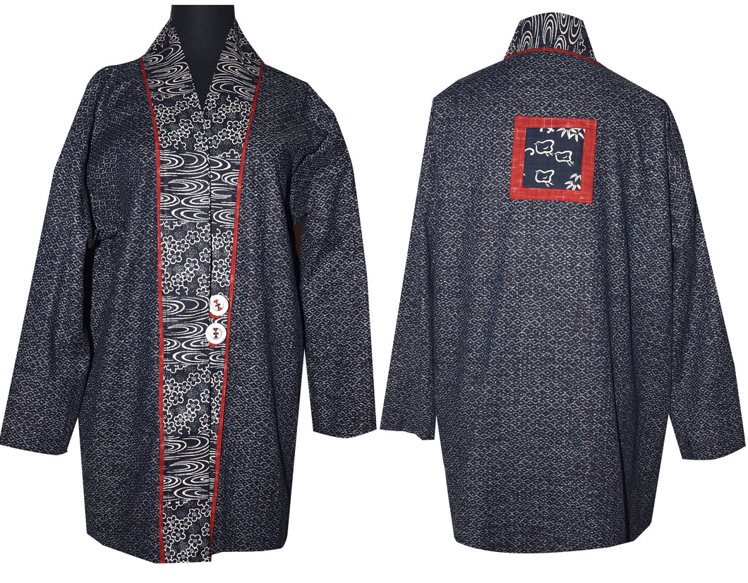Japanese Indigo Cotton Kimono Jacket with Inset M/LG