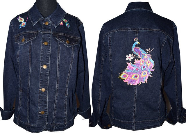 Peacock Machine Embroidered Dark Blue Denim Jacket LG