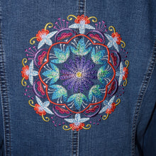 Load image into Gallery viewer, Embroidered Kaleidoscope Blue Denim Jacket LG