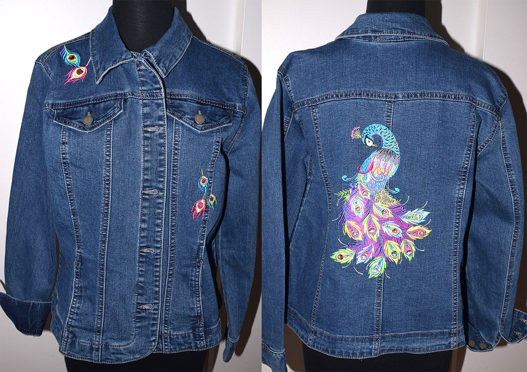 Vertical Peacock Machine Embroidered Blue Denim Jacket LG