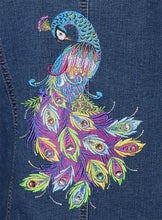 Load image into Gallery viewer, Vertical Peacock Machine Embroidered Blue Denim Jacket LG
