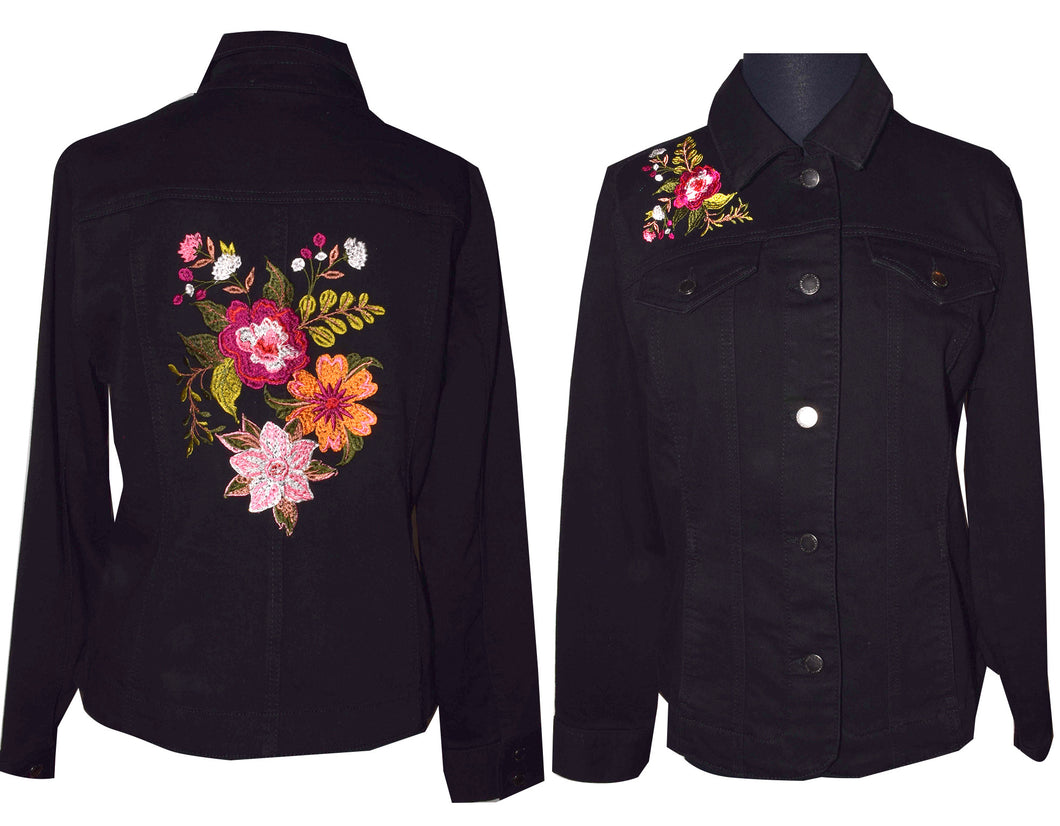 Embroidered Multifloral Black Denim Jacket M