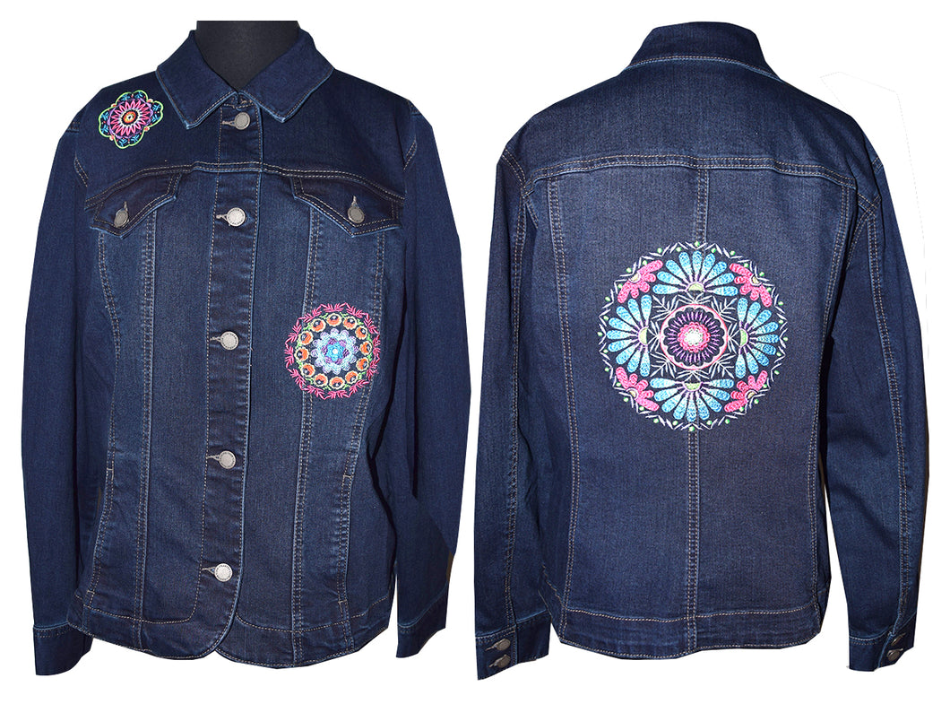 Embroidered Kaleidoscope Dark Blue Denim Jacket LG