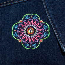 Load image into Gallery viewer, Embroidered Kaleidoscope Dark Blue Denim Jacket LG
