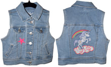 Load image into Gallery viewer, Child's Embroidered Unicorn Blue Denim Jeans Vest XS 4/5