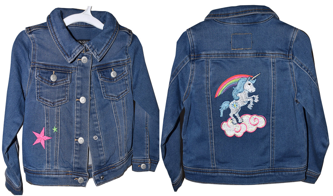 Child's Embroidered Unicorn Denim Jeans Jacket 3T