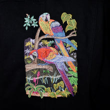 Load image into Gallery viewer, Embroidered Tropical Bird Black Denim Jacket XL