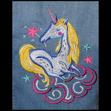 Load image into Gallery viewer, Child's Embroidered Unicorn Light Blue Denim Jacket   M7-8