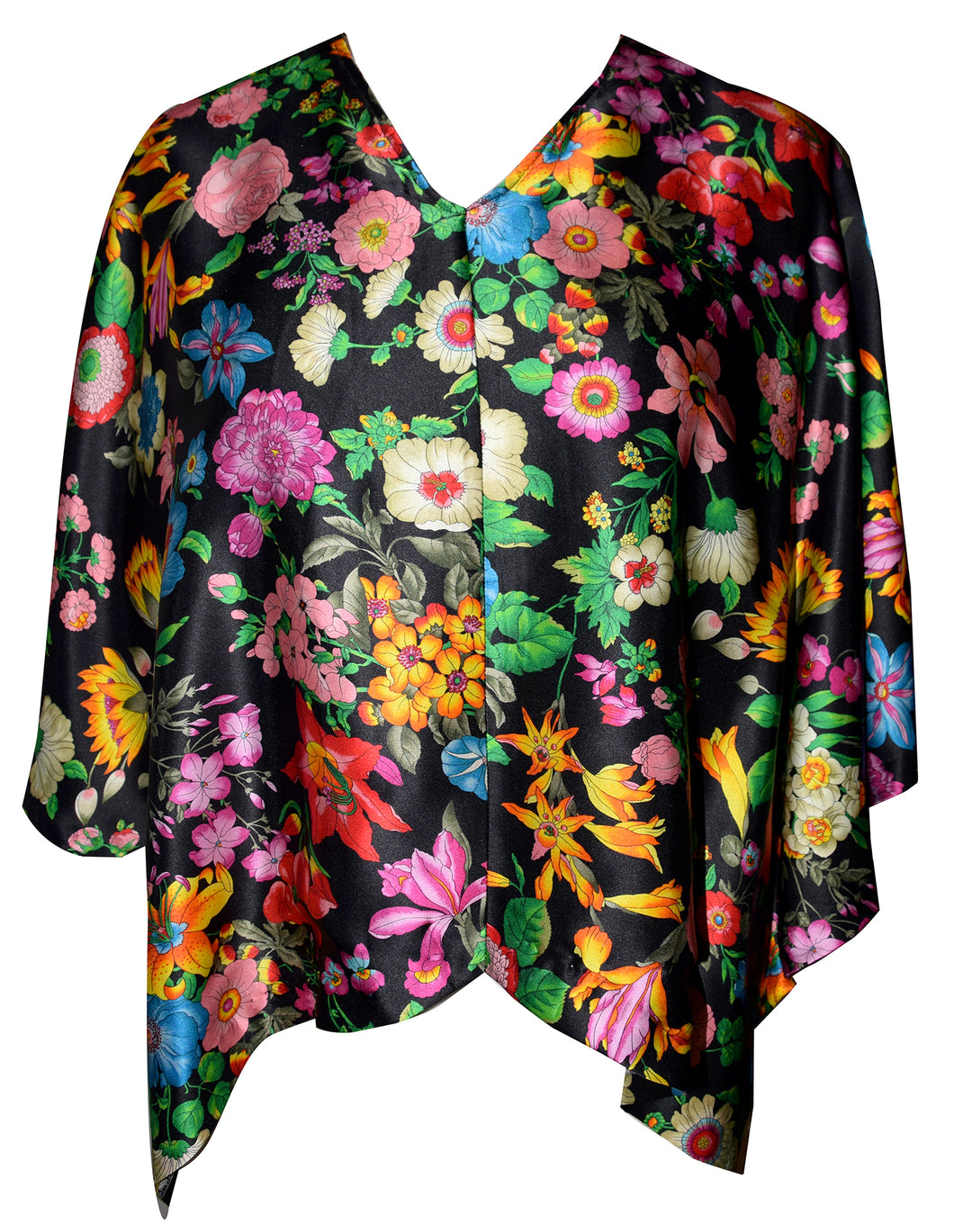Exquisite One of a Kind Floral 100% Silk Poncho