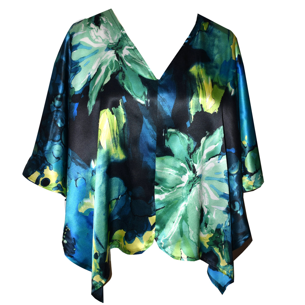 Shimmery Blue Floral Print Silk Charmeuse Poncho