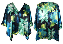 Load image into Gallery viewer, Shimmery Blue Floral Print Silk Charmeuse Poncho