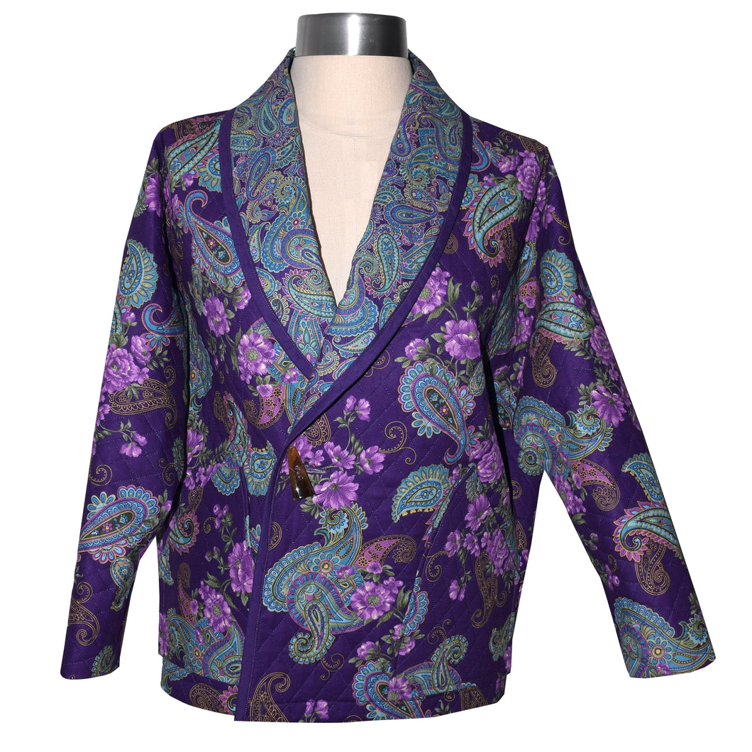 Cozy Quilted Purple Print Lined Jacket with Raglan Sleeves