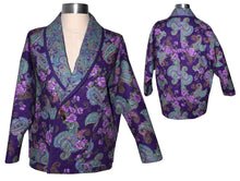 Load image into Gallery viewer, Cozy Quilted Purple Print Lined Jacket with Raglan Sleeves