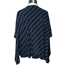 Load image into Gallery viewer, One of a Kind Navy Print Black Stripe Silk Ruana Wrap